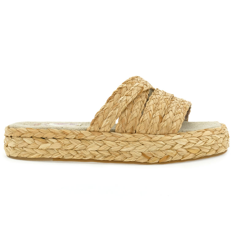 Solstice Natural Vegan Platform Slide Sandal Side
