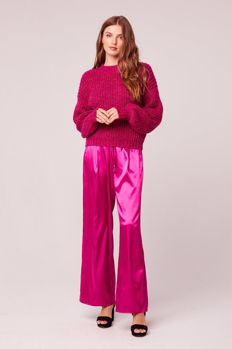 Sorbet Fuchsia Mock Neck Sweater