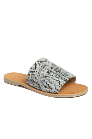 Speedway Black and White Snakeskin Slide Sandal Front