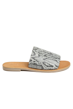 Speedway Black and White Snakeskin Slide Sandal Side