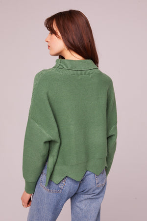 Speedway Cable Knit Scalloped Edge Sweater Back