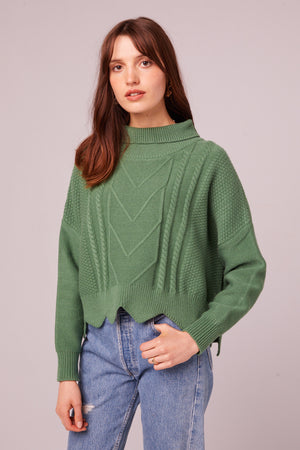 Speedway Cable Knit Scalloped Edge Sweater Front