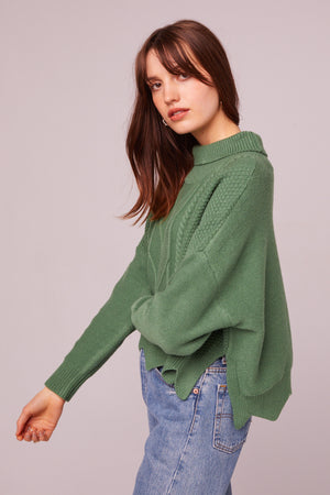 Speedway Cable Knit Scalloped Edge Sweater Side