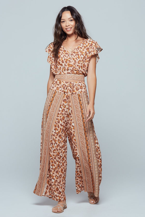 Sphinx Border Print Wrap Crop Top