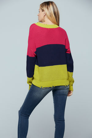 Split Color Block Distressed Sweater Back