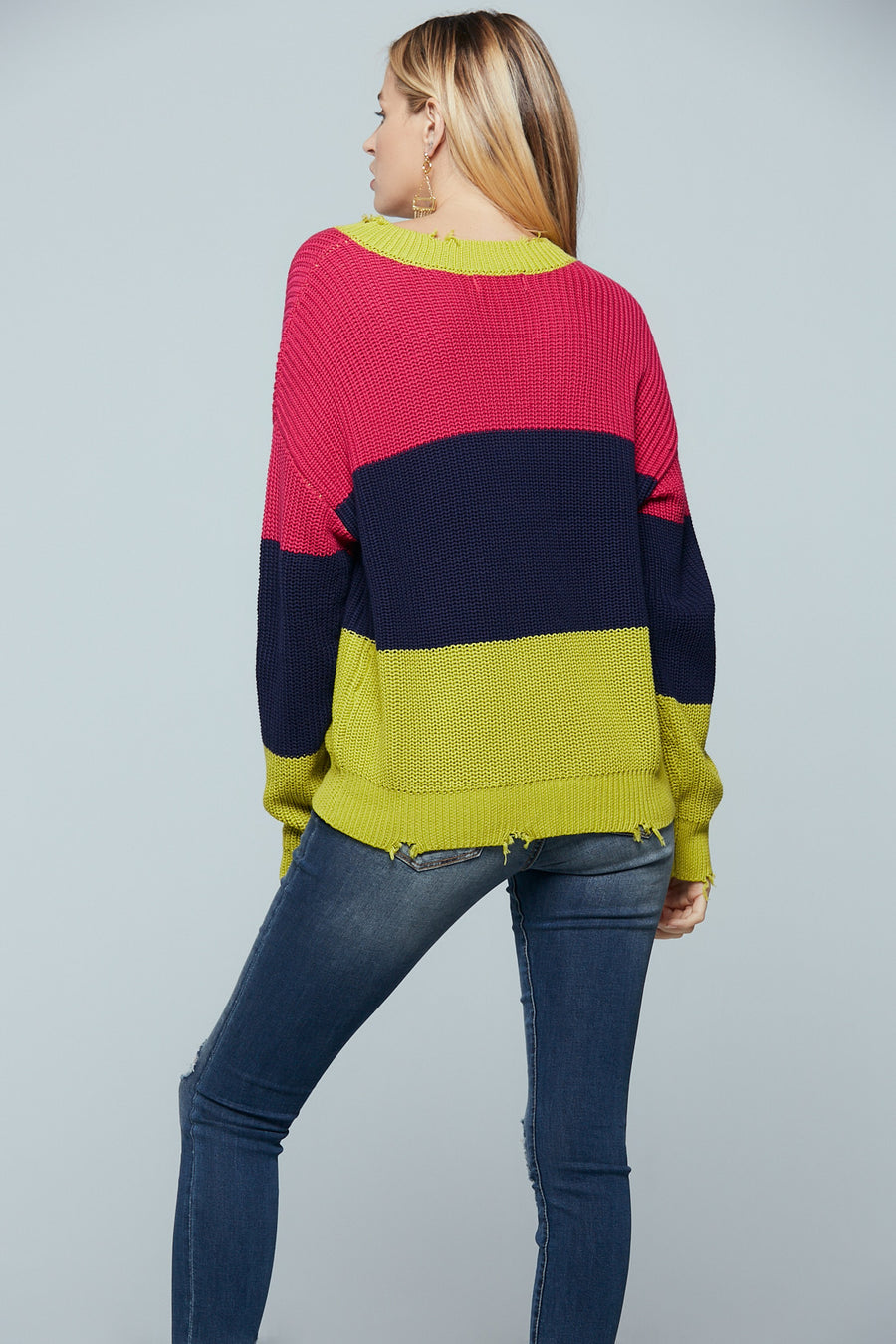 Split Color Block Distressed Sweater Master