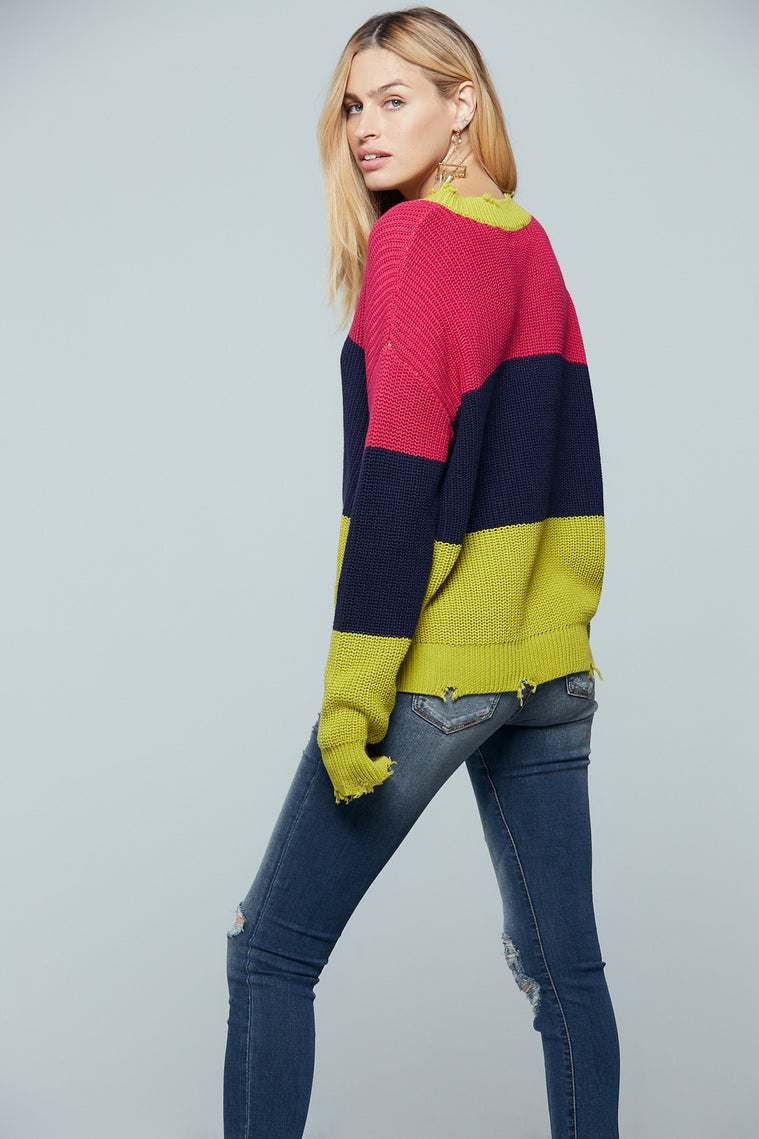 Split Color Block Distressed Sweater Detail
