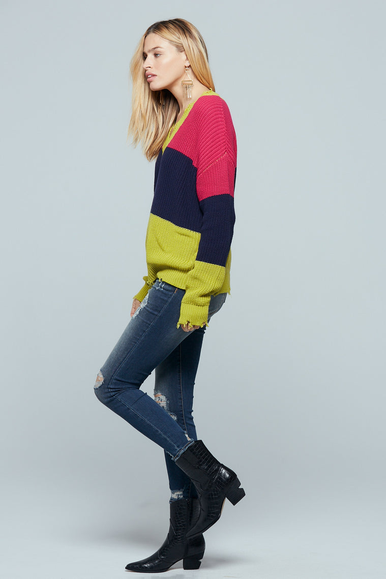 Split Color Block Distressed Sweater Side