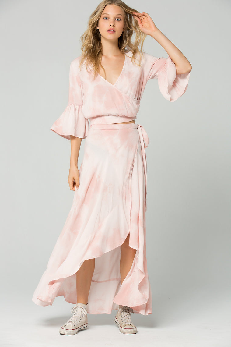 0e1817300 St. Barts Blush Tie Dye Ruffle Wrap Maxi Skirt – Band of Gypsies