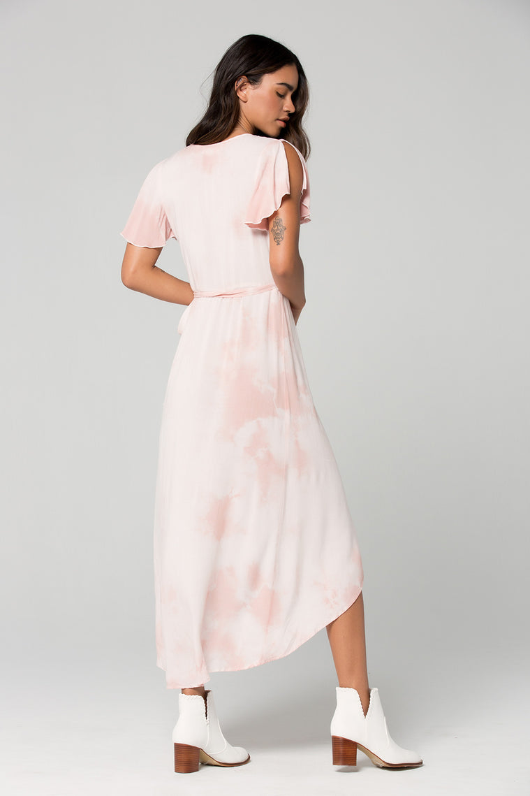 St Tropez Blush Tie Dye Wrap Dress Back 2