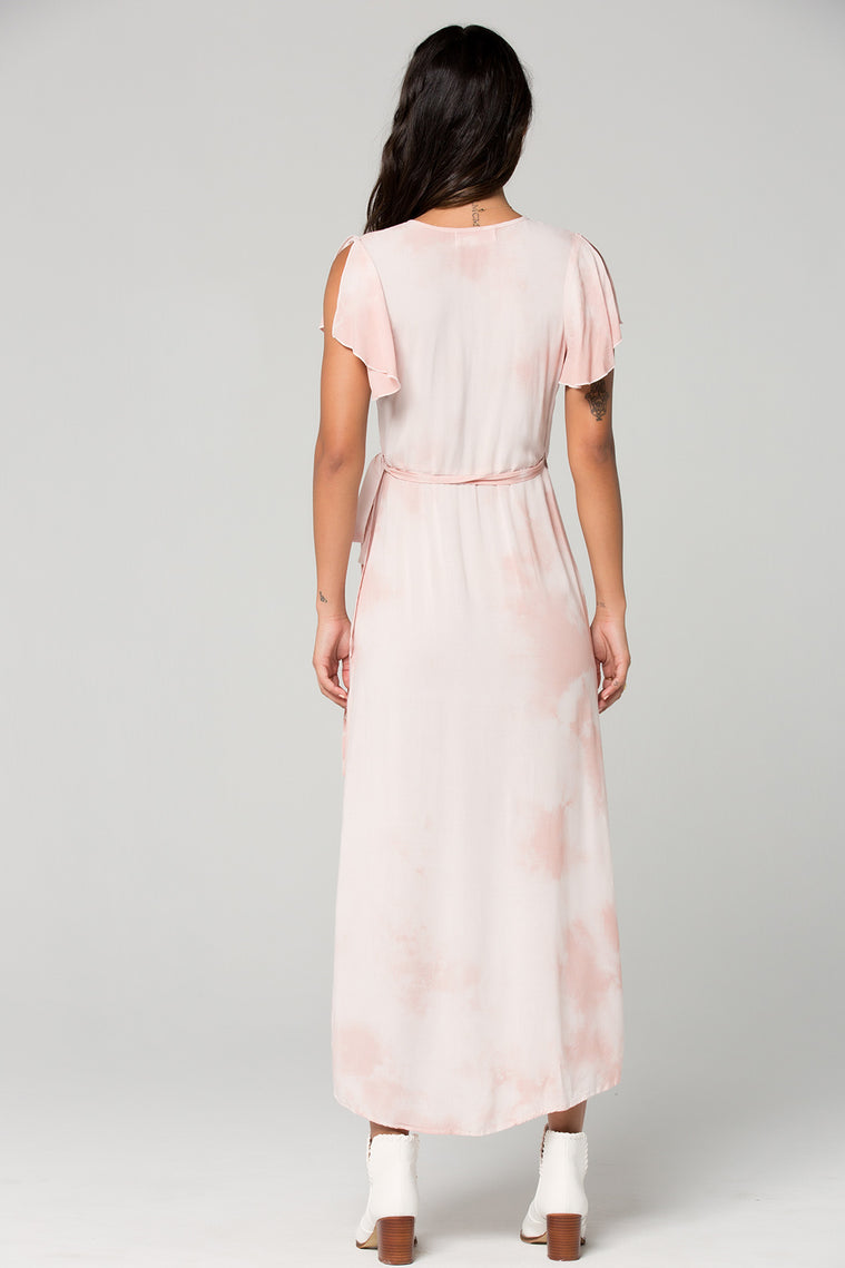 St Tropez Blush Tie Dye Wrap Dress  Back