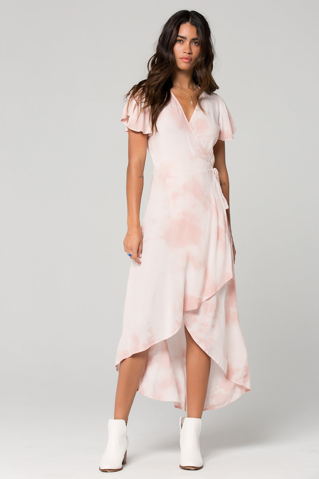 St Tropez Blush Tie Dye Wrap Dress Master