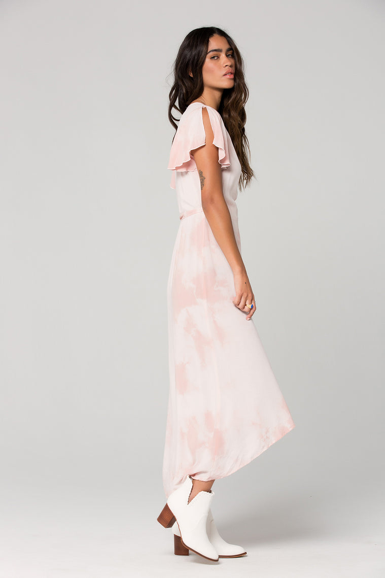 St Tropez Blush Tie Dye Wrap Dress Side 4