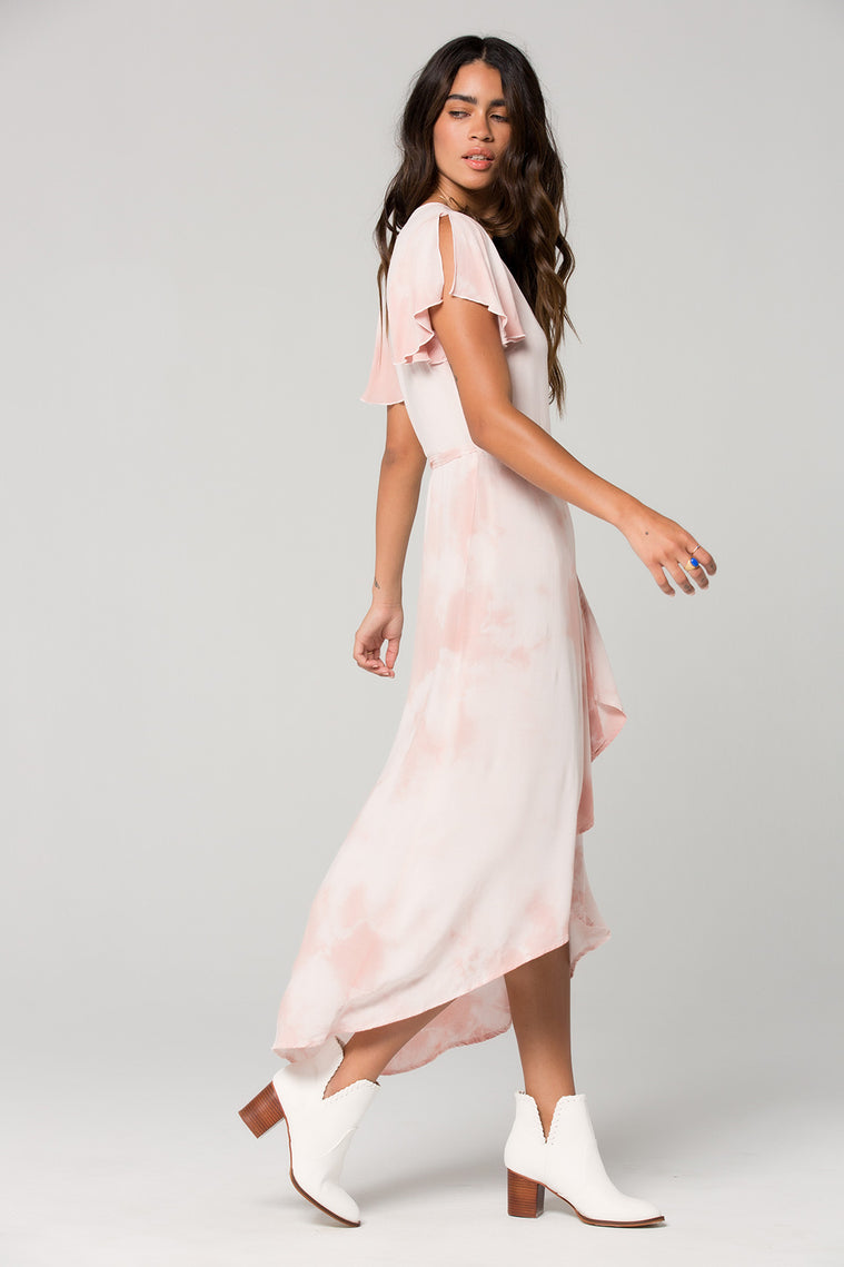 St Tropez Blush Tie Dye Wrap Dress Side 3