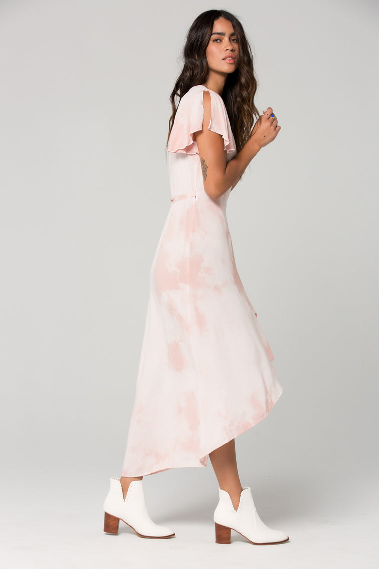 St Tropez Blush Tie Dye Wrap Dress Side
