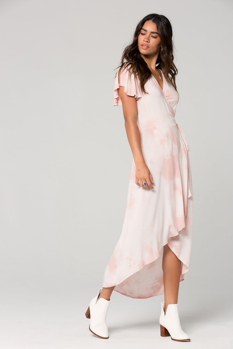 St Tropez Blush Tie Dye Wrap Dress Side 2