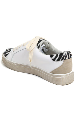 Star Black Zebra Canvas Leather Sneakers Back