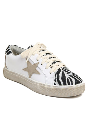 Star Black Zebra Canvas Leather Sneakers Front