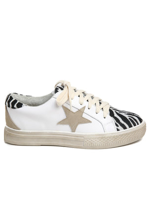 Star Black Zebra Canvas Leather Sneakers Side