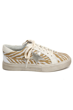 Star Natural Zebra Canvas Sneakers Side