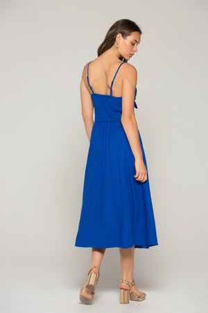 Stella Royal Blue Tie Midi Dress Back