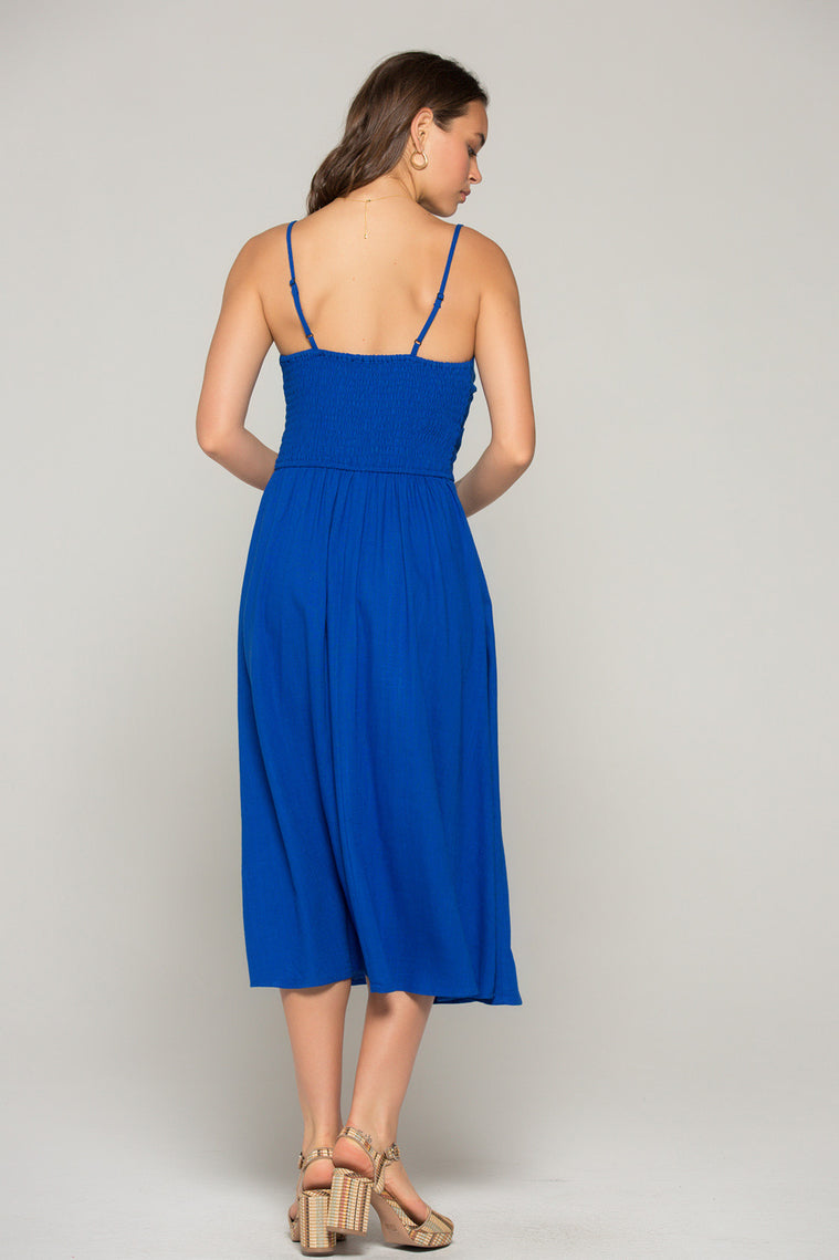 Stella Royal Blue Tie Midi Dress Back2
