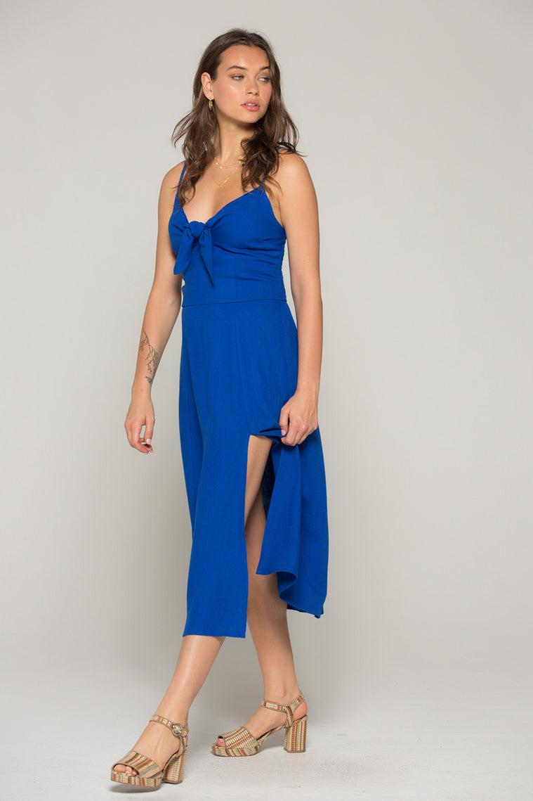 Stella Royal Blue Tie Midi Dress Side