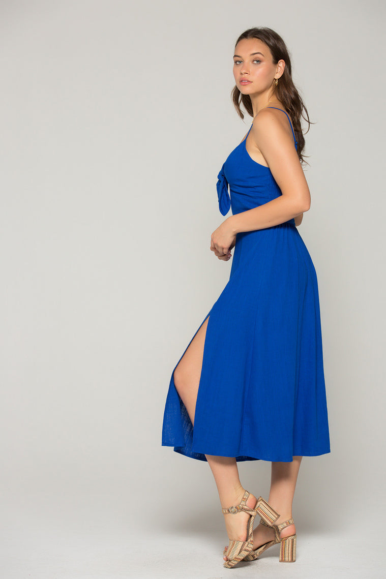 Stella Royal Blue Tie Midi Dress Detail