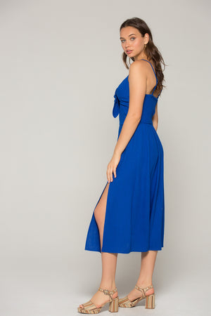 Stella Royal Blue Tie Midi Dress Side 2
