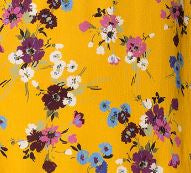 Melbourne Mustard Floral Printed Ruche Dress Swatch