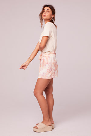 Sweet Dreams Peach Tie-Dye Shorts Side