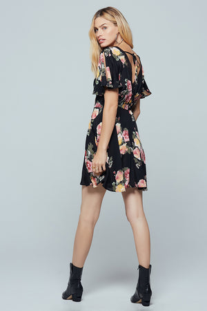 Sycamore Black Floral Flutter Sleeve Mini Dress Back 2