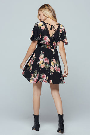 Sycamore Black Floral Flutter Sleeve Mini Dress Back