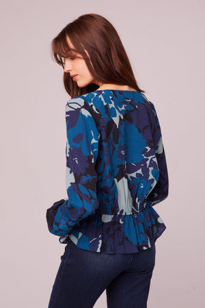 Sycamore Ave Sapphire Floral Tie Top Back