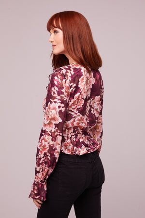 Sylvia Floral Plum Tie Top Back
