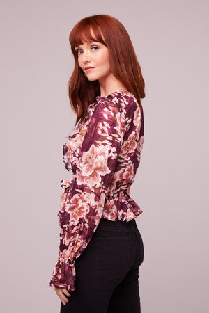 Sylvia Floral Plum Tie Top Side
