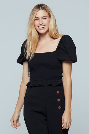 Tahiti Black Puff Sleeve Top Detail