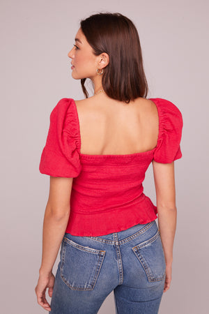 Tahiti Fuchsia Puff Sleeve Top Back