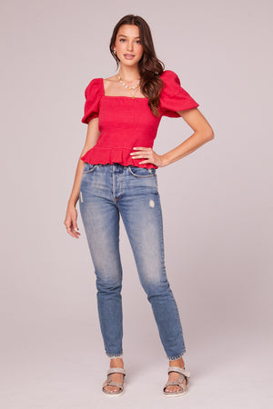 Tahiti Fuchsia Puff Sleeve Top Detail