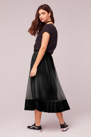 Tiny Dancer Black Velvet Pleated Midi Skirt