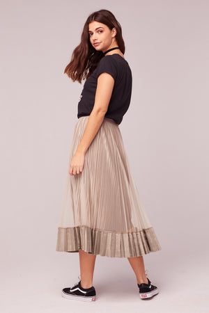 Tiny Dancer Taupe Velvet Pleated Midi Skirt Back