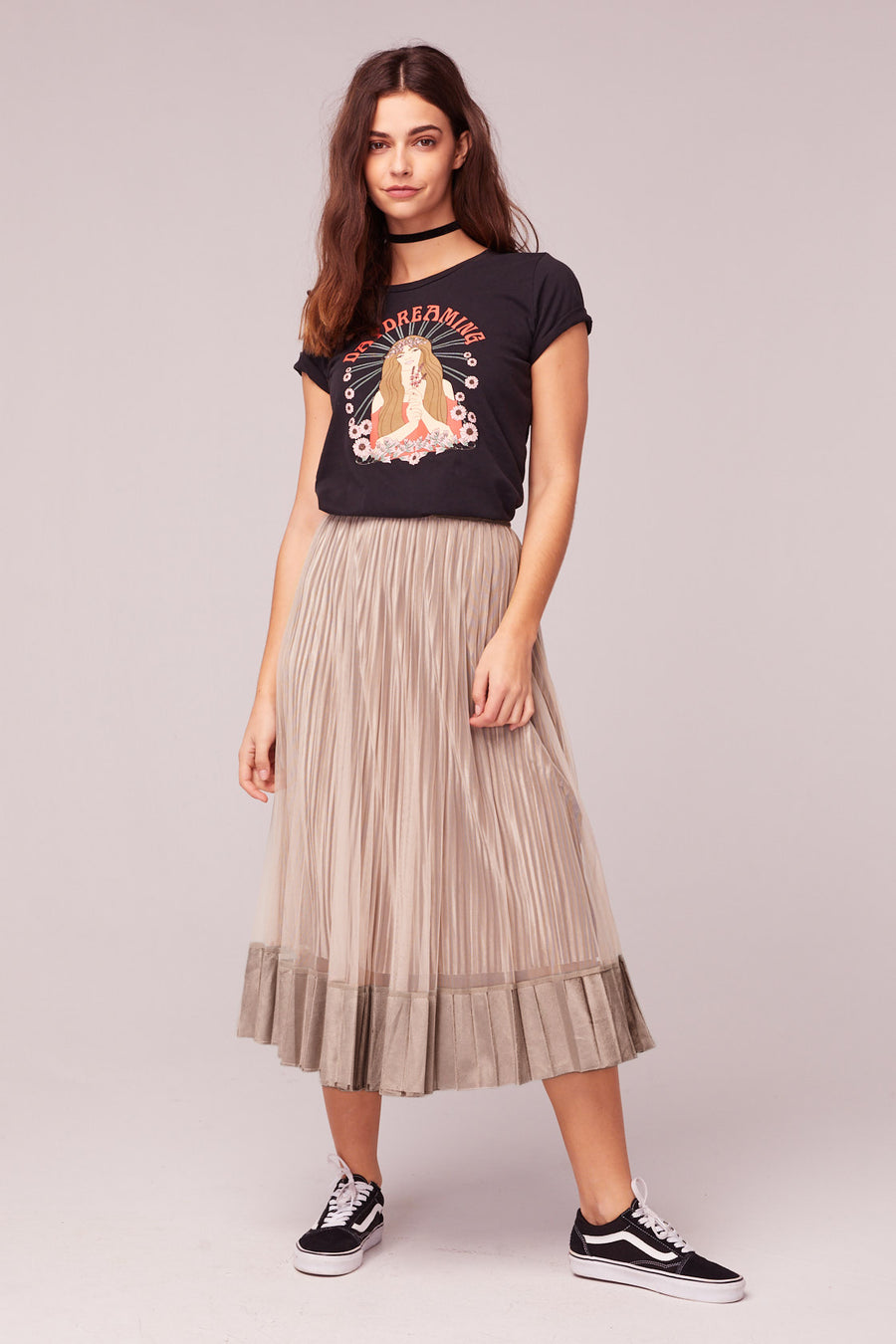 Tiny Dancer Taupe Velvet Pleated Midi Skirt Lifestyle
