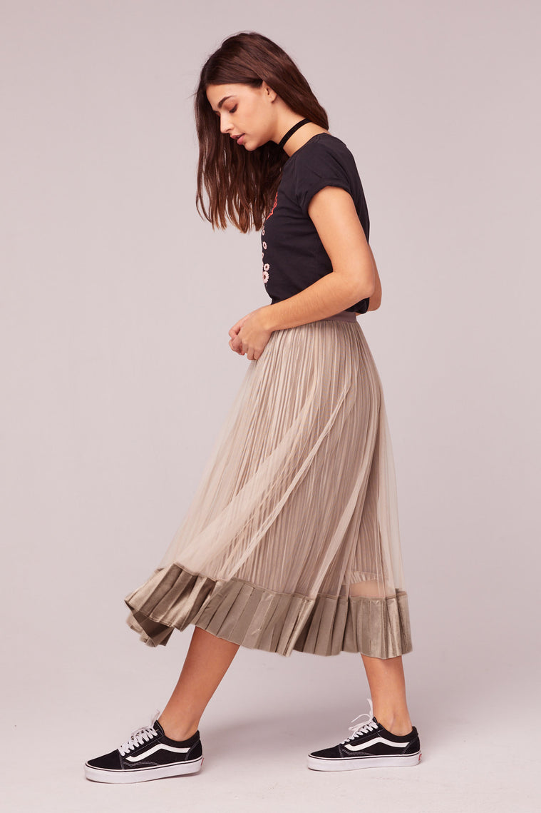 Tiny Dancer Taupe Velvet Pleated Midi Skirt Side