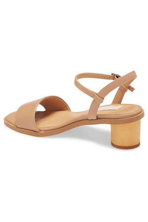Topanga Beige Vegan Leather Block Heel Sandal Back