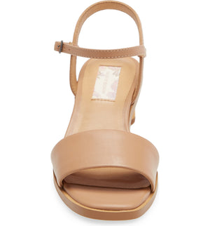 Topanga Beige Vegan Leather Block Heel Sandal Front