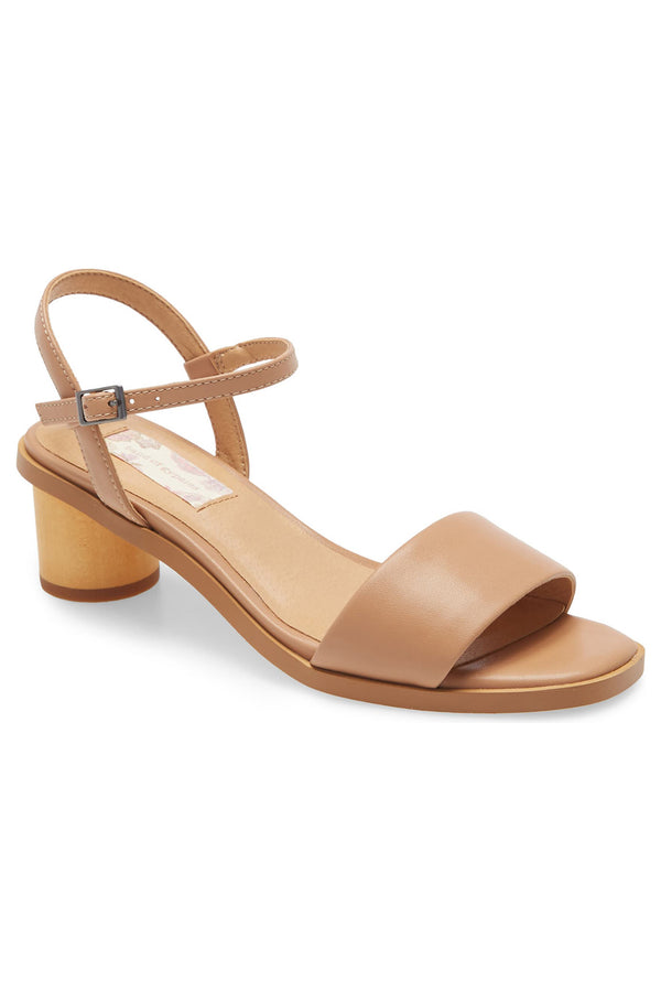 Topanga Beige Vegan Leather Block Heel Sandal Master