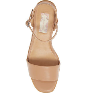 Topanga Beige Vegan Leather Block Heel Sandal Top