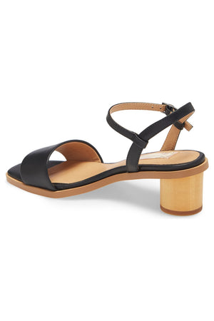 Topanga Black Vegan Leather Block Heel Sandal Back