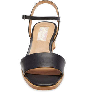 Topanga Black Vegan Leather Block Heel Sandal Front