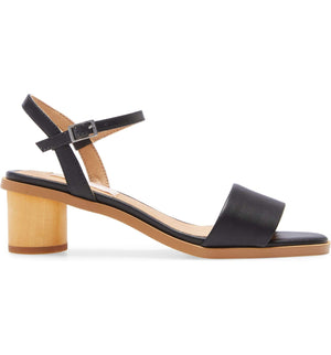 Topanga Black Vegan Leather Block Heel Sandal Side